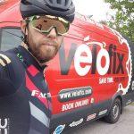 Dan Souter in kit next to Velofix Van
