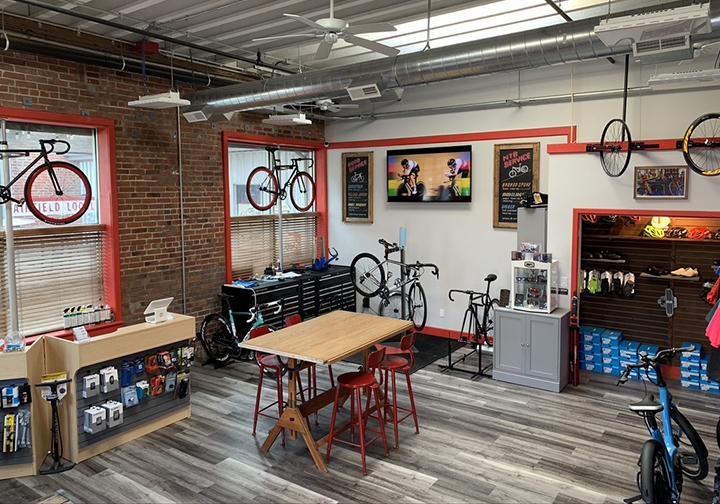 Interior shot of Velofix Southern Connecticut's service shop